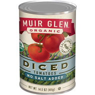 Muir Glen Canned Tomatoes, Organic Diced Tomatoes, No Salt & No Sugar Added, 14.5 Ounce Can (Pack Of 12)