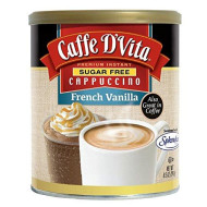 Caffe D'Vita Sugar Free French Vanilla Instant Cappuccino Mix / Powder - Pack of 6 - 8.5 oz. cans