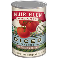 Muir Glen, Organic Diced Tomatoes With Garlic And Onion, 12 Cans, 14.5 Oz