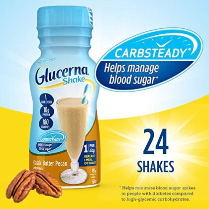 Glucerna, Diabetes Nutritional Shake, To Help Manage Blood Sugar, Classic Butter Pecan, 8 Fl Oz (Pack Of 24)