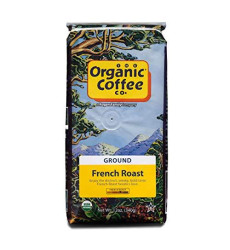 The Organic Coffee Co. French Roast Ground Coffee 12 Ounce Dark Roast Natural Water Processed USDA Organic