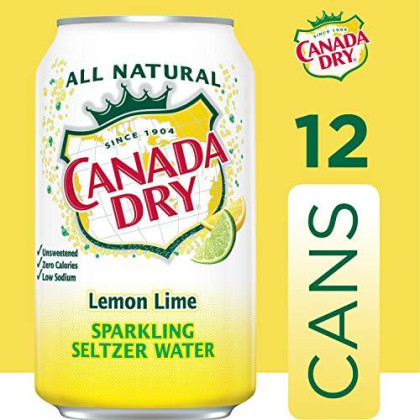 Canada Dry Lemon Lime Sparkling Seltzer Water, 12 fl oz cans, 12 pack