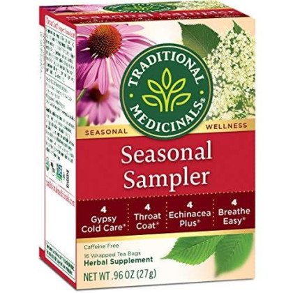 Traditional Medicinals Organic Seasonal Tea Sampler Variety Pack, 16 Tea Bags (Pack of 1)