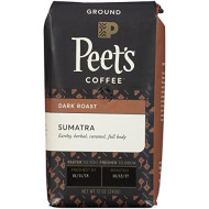 Peet's Coffee Sumatra, Deep Roast Ground Coffee, 12 Ounce Single-Origin Coffee, Earthy, Complex, & Hefty Classic Blend of Indonesian Coffee, with A Syrup-like Body & Herbal Notes