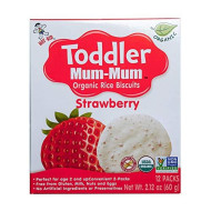 Hot-Kid Toddler Mum-Mum Rice Biscuits, Organic Strawberry, Organic, Gluten Free, Allergen Free, Non-Gmo, 2.12 Ounce,12 Count, Pack Of 6