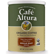 Cafe Altura Ground Organic Coffee, Regular Roast, 12 Ounce (Pack of 3)