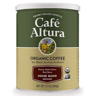 Cafe Altura Ground Organic Coffee, House Blend, 12 Ounce (Pack of 3)