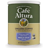 Cafe Altura Ground Organic Coffee, Regular Roast Decaf, 12 oz (Pack of 3)