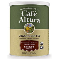 Cafe Altura Ground Organic Coffee, Fair Trade Dark Blend, 12 Ounce (Pack of 3)