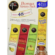 4C Totally Light Tea 2 Go Bonus Variety Pack Ice Tea Mix, 24-Count Boxes (Pack of 3)