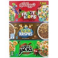 Kellogg's Tri-Fun Cereal Assortment Pack, Froot Loops, Cocoa Krispies and Apple Jack, 58 Ounce