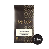 Peet's Coffee House Blend Dark Roast Ground Coffee, 2.5 Ounce Portion Packs (Pack of 18)