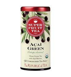 The Republic of Tea Acai Berry Green Tea - Caffeinated Superfruit - Natural Healthy Herbal Tea - Anti-oxidant, Gluten-Free - Acai Green Tea - 50 Tea Bags