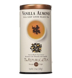 The Republic of Tea Premium Full-Leaf Black Tea, 3.5 Ounces / 50-60 Cups, Vanilla Almond