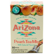 AriZona Peach Iced Tea Iced Tea Stix Sugar-Free, 10Count Box (Pack of 1), Low Calorie Single Serving Drink Powder Packets, Just Add Water for a Deliciously Refreshing Iced Tea Beverage