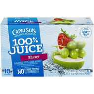 Capri Sun 100% Juice, Berry, 10-Count, 6-Ounce Pouches (Pack Of 4)