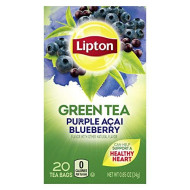 Lipton Green Tea Bags Flavored with Other Natural Flavors Purple Acai Blueberry Can Help Support a Healthy Heart 1.13 oz 20 Count ( Pack of 6)