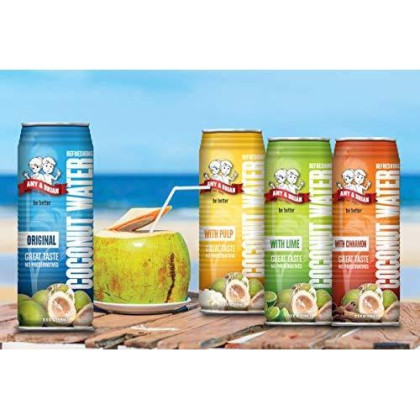 Amy & Brian Coconut Water With Pulp, 17.5 Fl. Oz Can (Pack Of 12)
