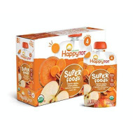 Happy Tot Organic Stage 4 Super Foods Apples Sweet Potatoes Carrots & Cinnamon + Super Chia, 4.22 Ounce Pouch (Pack Of 16) (Packaging May Vary) Non-Gmo Gluten Free 3G Fiber Source Of Vitamins A & C