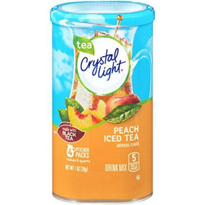 Crystal Light Drink Mix, Peach Tea, Pitcher Packets, 4 Count (Pack Of 4 Canisters)