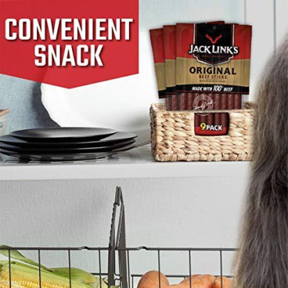 Jack Link'S Beef Snack Sticks, Original, 27 Count (Pack Of 3, 7.2 Oz. Bags) - Great Protein Meat Stick With 4G Of Protein Per Serving, Made With 100% Premium Beef