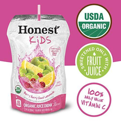 Honest Kids Organic Juice Drink, Berry Berry Good Lemonade, 6.75 Fl. Oz Pouches (Pack Of 32)