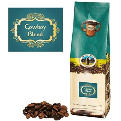 Mystic Monk Coffee: Cowboy Blend Whole Bean (Medium Roast 100% Arabica) - 12 ounce bag