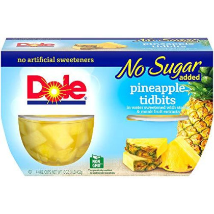 Dole Fruit Bowls, Pineapple Tidbits in 100% Juice, 4 Cups (Pack of 24)