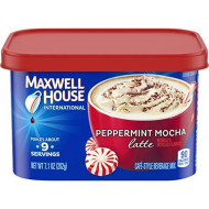 Maxwell House International Peppermint Mocha Latte Cafe Style Beverage Mix, Caffeinated, 7.1 oz Can (Pack of 4)