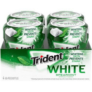 Trident White Sugar Free Gum, Spearmint Flavor, 4 Go-Cup (240 Pieces Total)