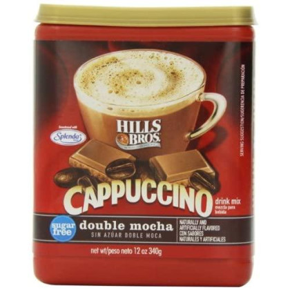 Hills Bros. Instant Cappuccino Mix, Sugar-Free Double Mocha Cappuccino Mix  Easy to Use, Enjoy Coffeehouse Flavor from Home  Frothy, Decadent Cappuccino with 0% Sugar and 8g of Carbs (12 Ounces)
