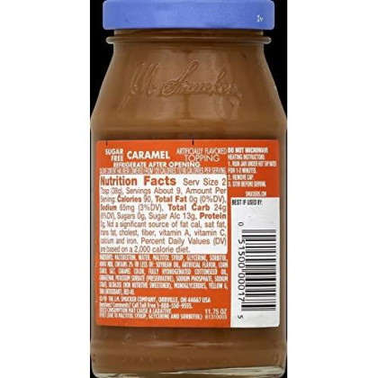 Smucker'S Sugar Free Caramel Flavored Topping, 11.75-Ounce (Pack Of 6)