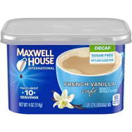 Maxwell House International French Vanilla Sugar Free Decaf Instant Coffee, Decaffeinated, 4 oz Can (Pack of 1)