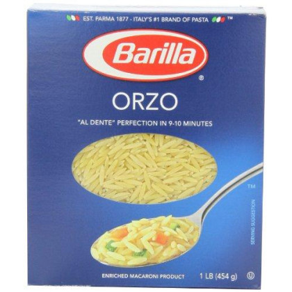 Barilla Pasta, Orzo, 16 Ounce (Pack Of 8)