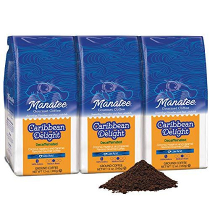Manatee Caribbean Delight Decaf Ground Coffee 12 Ounce (Pack of 3) Rich Medium Roast Flavored Coffee with Hints of Coconut Hazelnut and Caramel Decaffeinated Low Acid Coffee