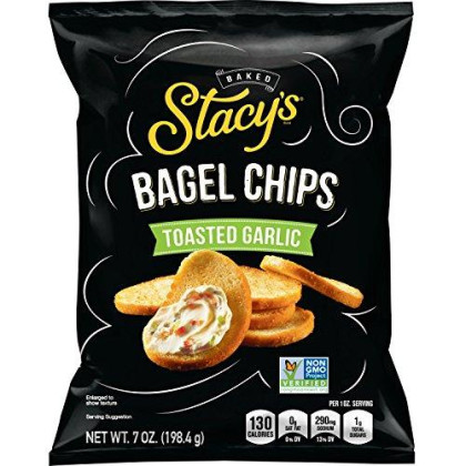 Stacy'S Toasted Garlic Flavored Bagel Chips, 7 Ounce Bags (Pack Of 12)