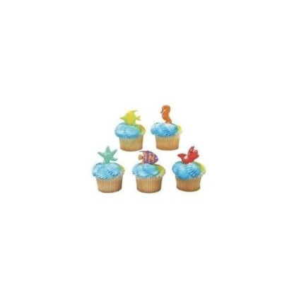 Oasis Supply Cupcake/Cake Decorating Puffy Jewel Rings, 1-1/2-Inch, Sun Face, Yellow and Orange with Black Sun Glasses, Set of 12