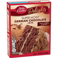 Betty Crocker Super Moist German Chocolate Cake Mix, 15.25 oz (Pack f 6)