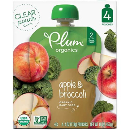 Plum Organics Stage 2 Organic Baby Food, Apple & Broccoli, 4 Ounce Pouch (Pack Of 24)