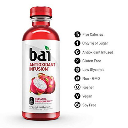 Bai Flavored Water, Sumatra Dragonfruit, Antioxidant Infused Drinks, 18 Fluid Ounce Bottles, 12 Count