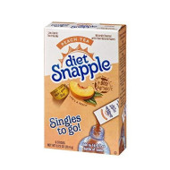 Diet Snapple Singles To Go Water Drink Mix - Peach Tea Flavored Powder Sticks (12 Boxes With 6 Packets Each - 72 Total Servings)