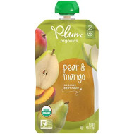 Plum Organics Stage 2, Organic Baby Food, Pear And Mango, 4 Ounce Pouches (Pack Of 12) (Packaging May Vary)