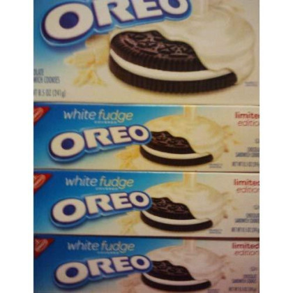 White Fudge Covered Oreo, Limited Editon Chocolate Sandwich Cookies 8.5 Oz (Pack Of 4)
