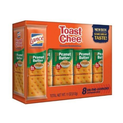 Lance Toast Chee Reduced Fat Peanut Butter Sandwich Crackers, 8 Count