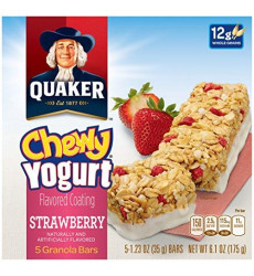 Quaker Yogurt Chewy Granola Bar, Strawberry, 5 Bars , net weight 6.1 ounce (Pack of 6) (Packaging may vary)