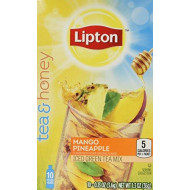 Lipton To Go Stix Iced Green Tea Mix, Tea and Honey, Mango Pineapple, 10-Count (Pack of 4)