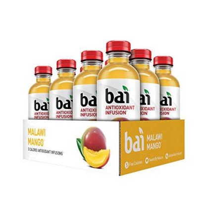 Bai Flavored Water, Malawi Mango, Antioxidant Infused Drinks, 18 Fluid Ounce Bottles, 12 Count