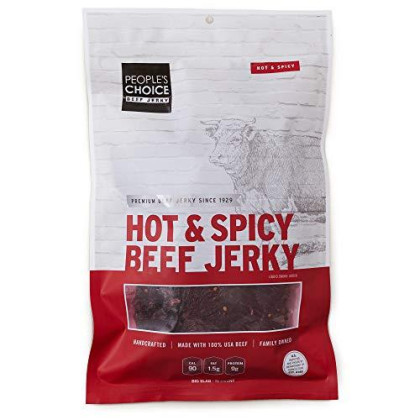 People'S Choice Beef Jerky - Classic - Hot & Spicy - Big Slab - Whole Muscle Premium Cuts - Bulk Jerky Package - Thin Sheets - Low Sodium Low Salt High Protein Meat Snack - 15 Count, 1 Bag