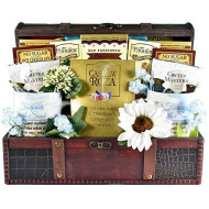 The Christian Heart - A Christian Gift Basket With Coffee Mugs, Journal And Comfort Foods In Wooden Trunk, 8 Pounds