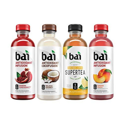 Bai Flavored Water, Mountainside Variety Pack, Antioxidant Infused Drinks, 18 Fluid Ounce Bottles, 12 Count, 3 Each Of Tanzania Lemonade Tea, Ipanema Pomegranate, Molokai Coconut, Panama Peach